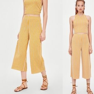 Zara Yellow Stripped Culotte Pants